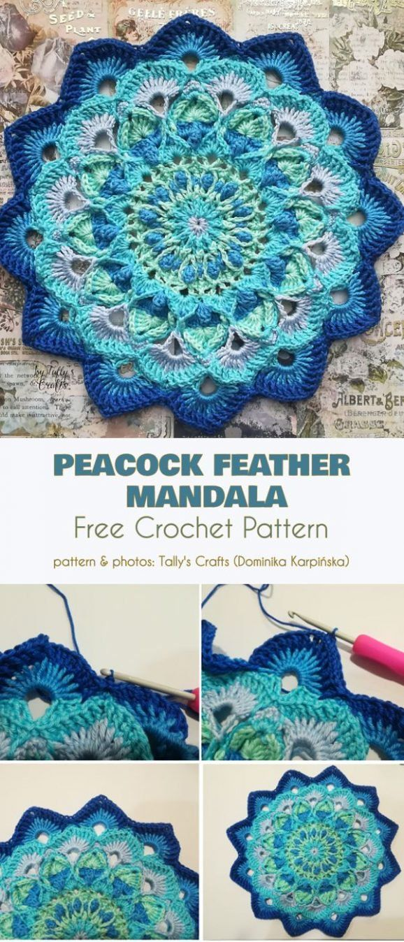 Peacock Mandala Free Crochet Patterns