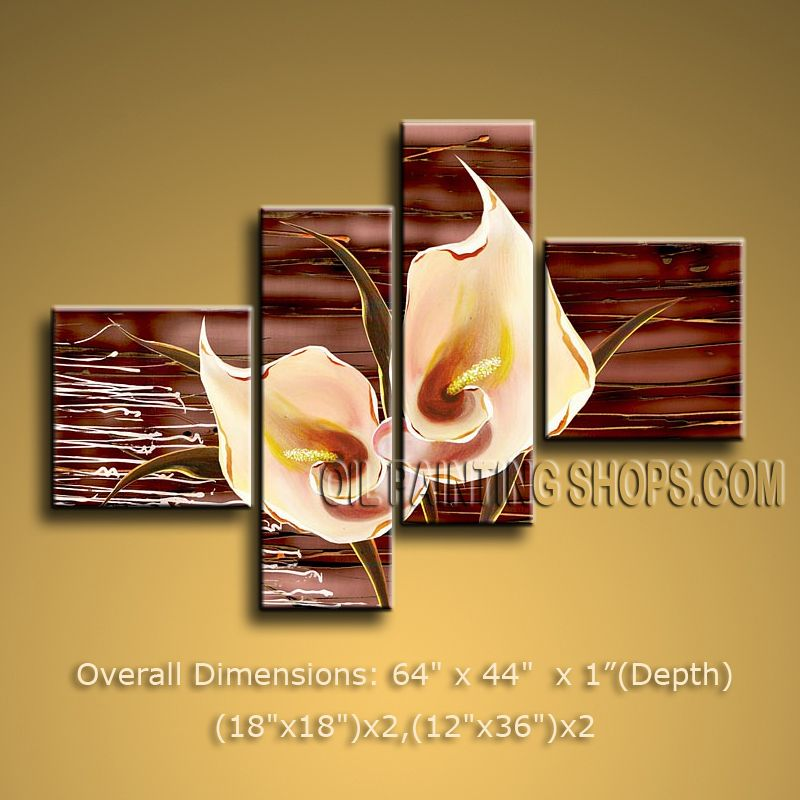 Tetraptych Contemporary Wall Art Floral Painting Lily Flower ...