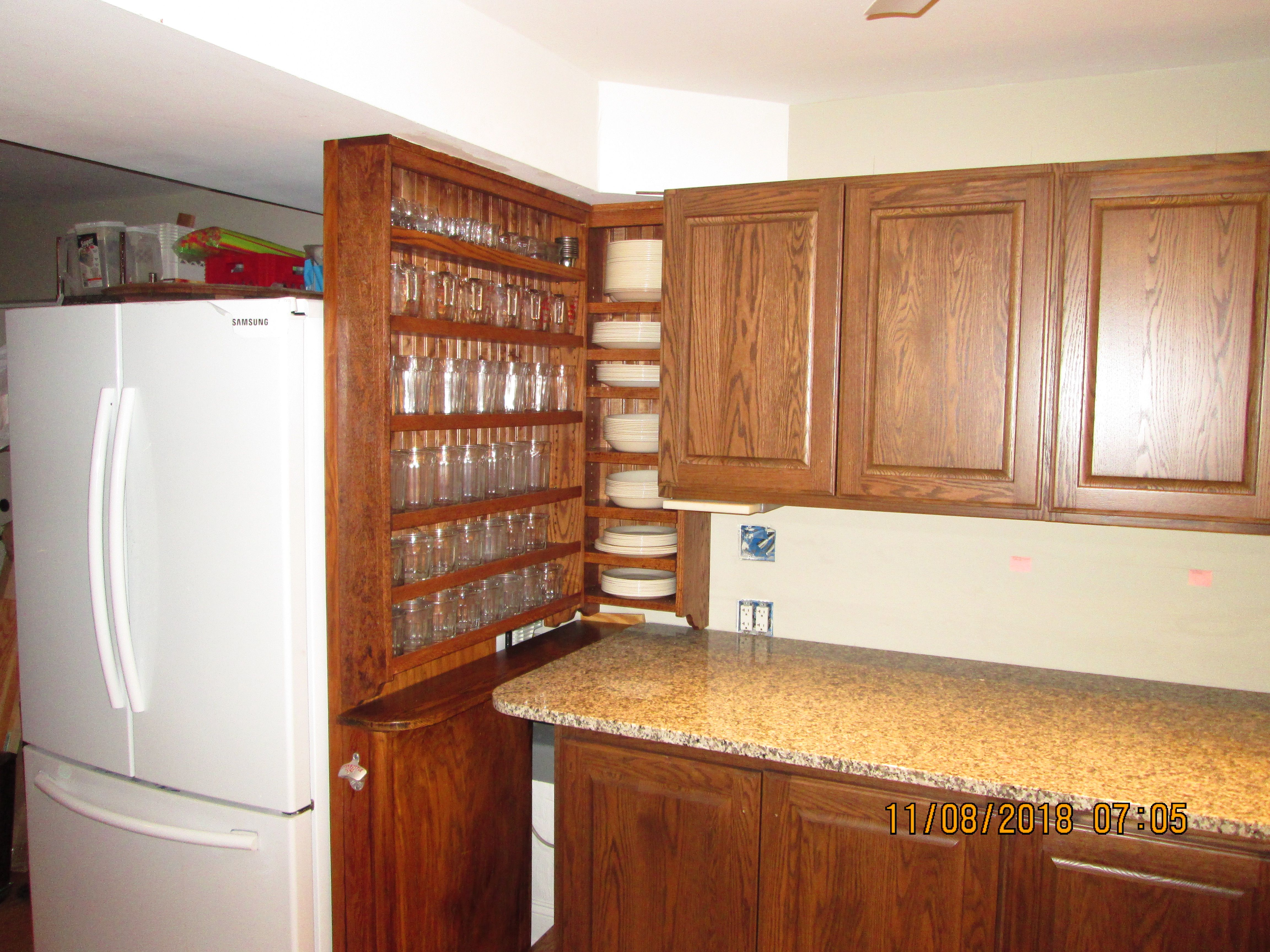 Kitchenette After The Two Midwest Classic Furniture Crafts Special Order Open Shelf Wall Cabinets Were Installe Wall Cabinet Open Shelving Classic Furniture