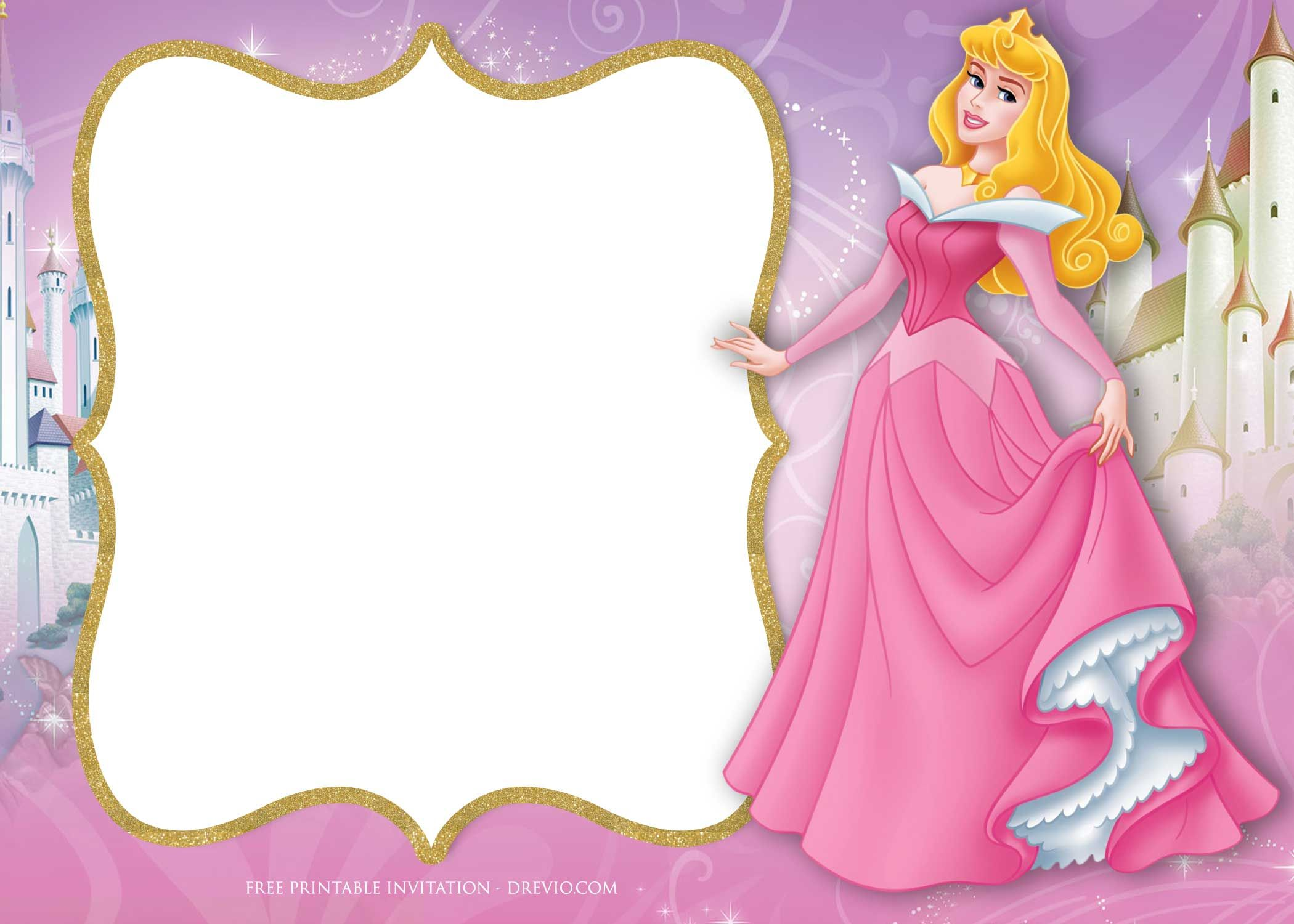 Download FREE Printable Princess Aurora Sleeping Beauty Invitation Templates
