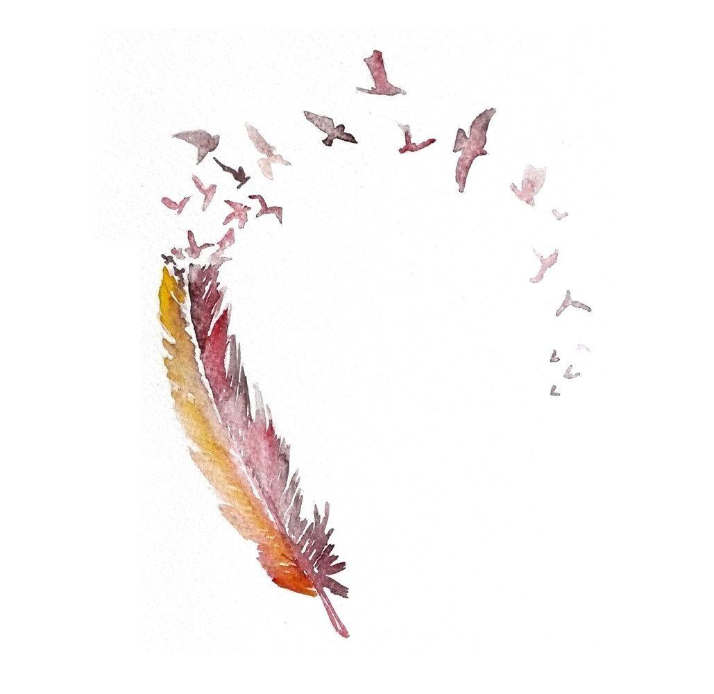 Feather Wall Art love bird feather art print 12x16 original watercolor painting