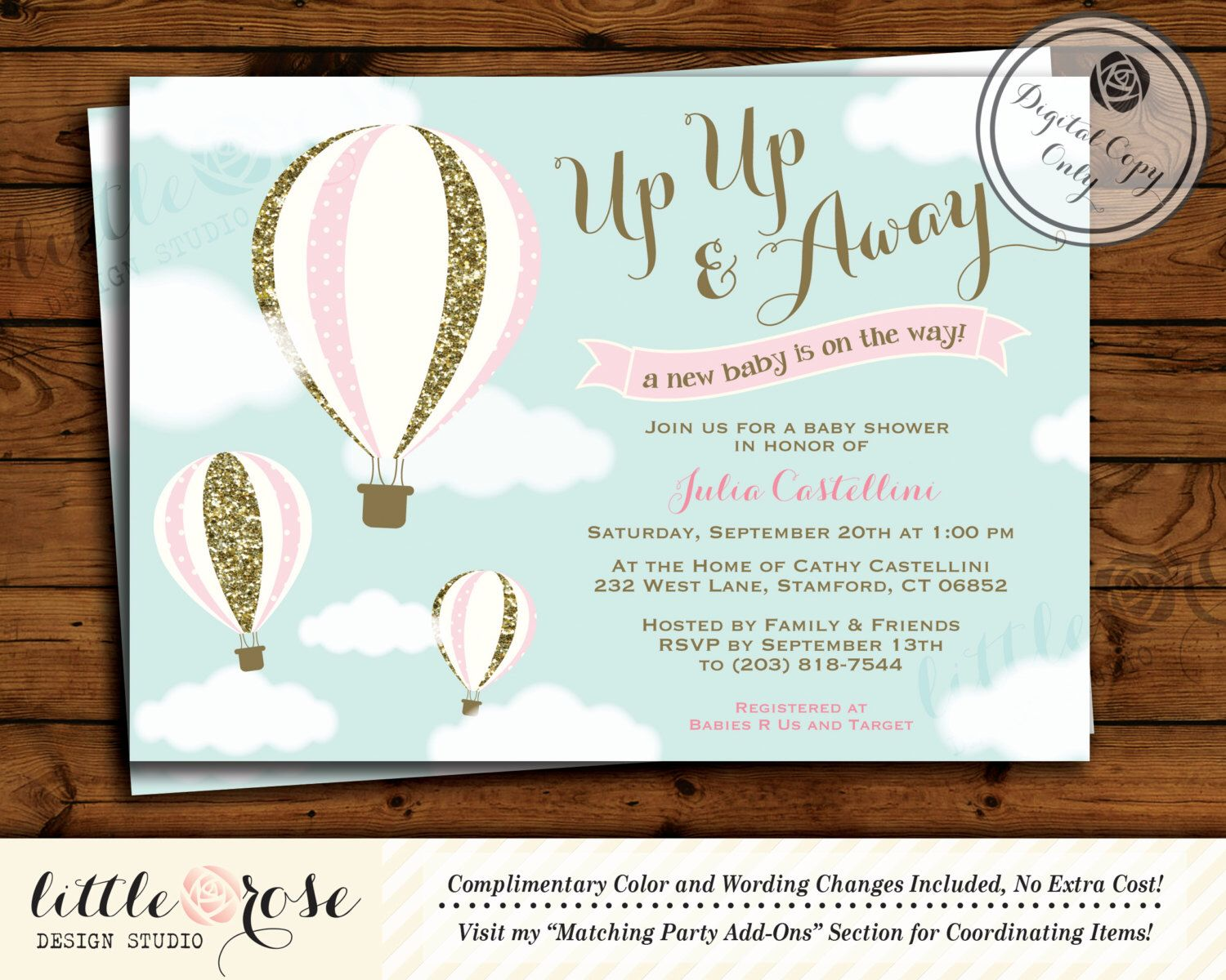 Hot Air Balloon Baby Shower Invitation - Up Up & Away Baby Shower ...