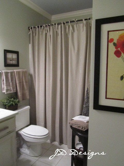 Extra Long Shower Curtain With Ties 104wx86l Stripe Ticking