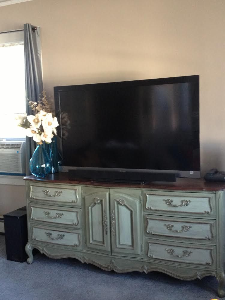 vintage painted buffet tv console media center shabby chic custom painted furniture