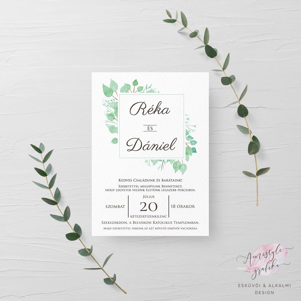 21ca598ab1 Eukaliptusz Akvarell Esküvői Meghívó - Esküvői Meghívó, Alkalmi és Családi  Grafika Webáruház