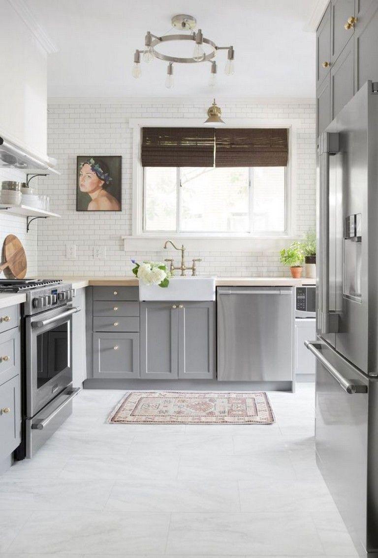grey kitchen cabinets wood floor   Modern black kitchen ...