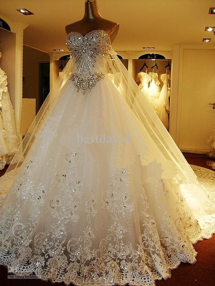 Luxury Crystals Cathedral Train Wedding Dress Ball Gown Sweetheart
