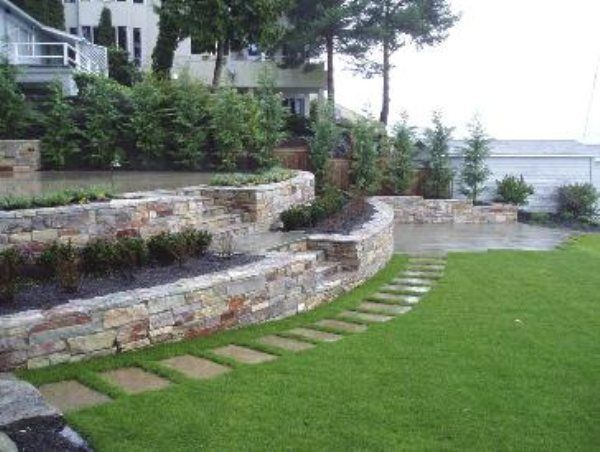 two-tiered retaining wall for the back planter | Stone ... on Tiered Yard Ideas id=14503