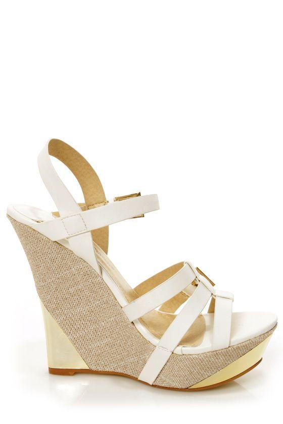 8e9df8d32 Heather 01 White Strappy Buckle Platform Wedge Sandals