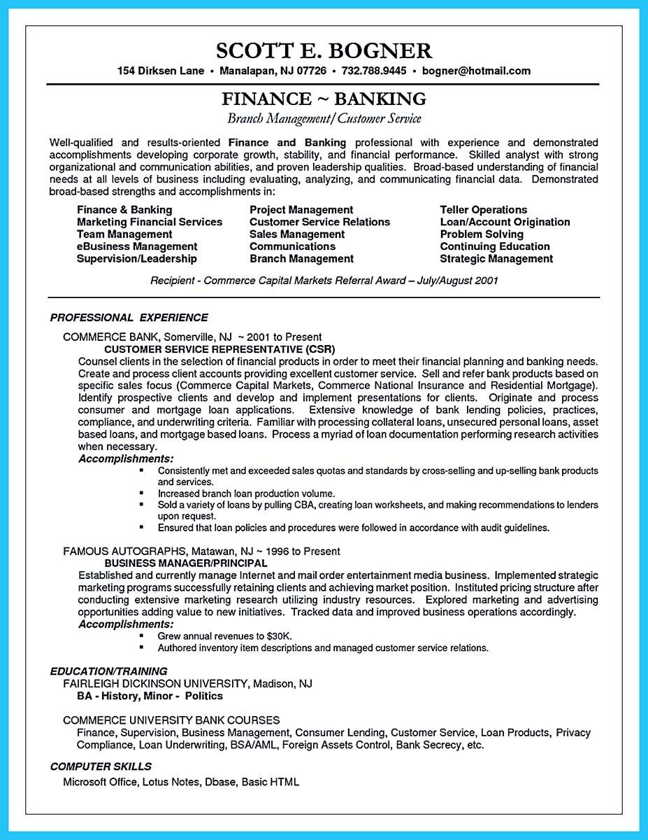 Awesome One Of Recommended Banking Resume Examples To Learn
