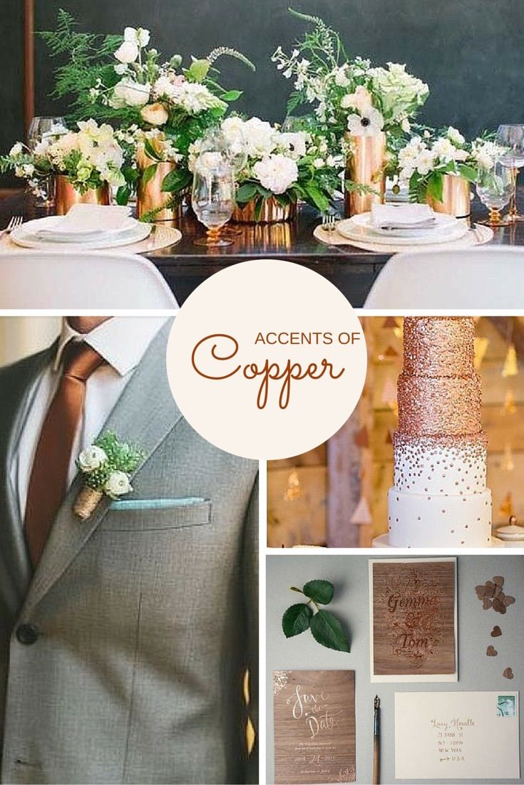 Wedding theme ideas by color   Wedding Trends  Copper Copper is the hottest accent colour in