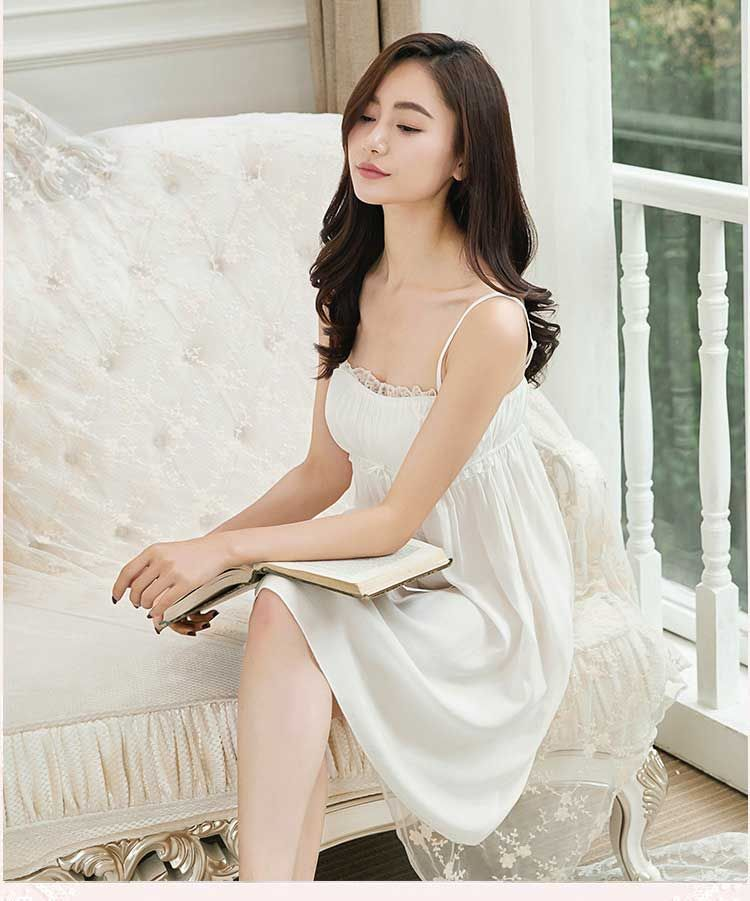 0eafed8585b7d1 Nightgowns Sexy Indoor Clothing Home Dress White Nightdress ...