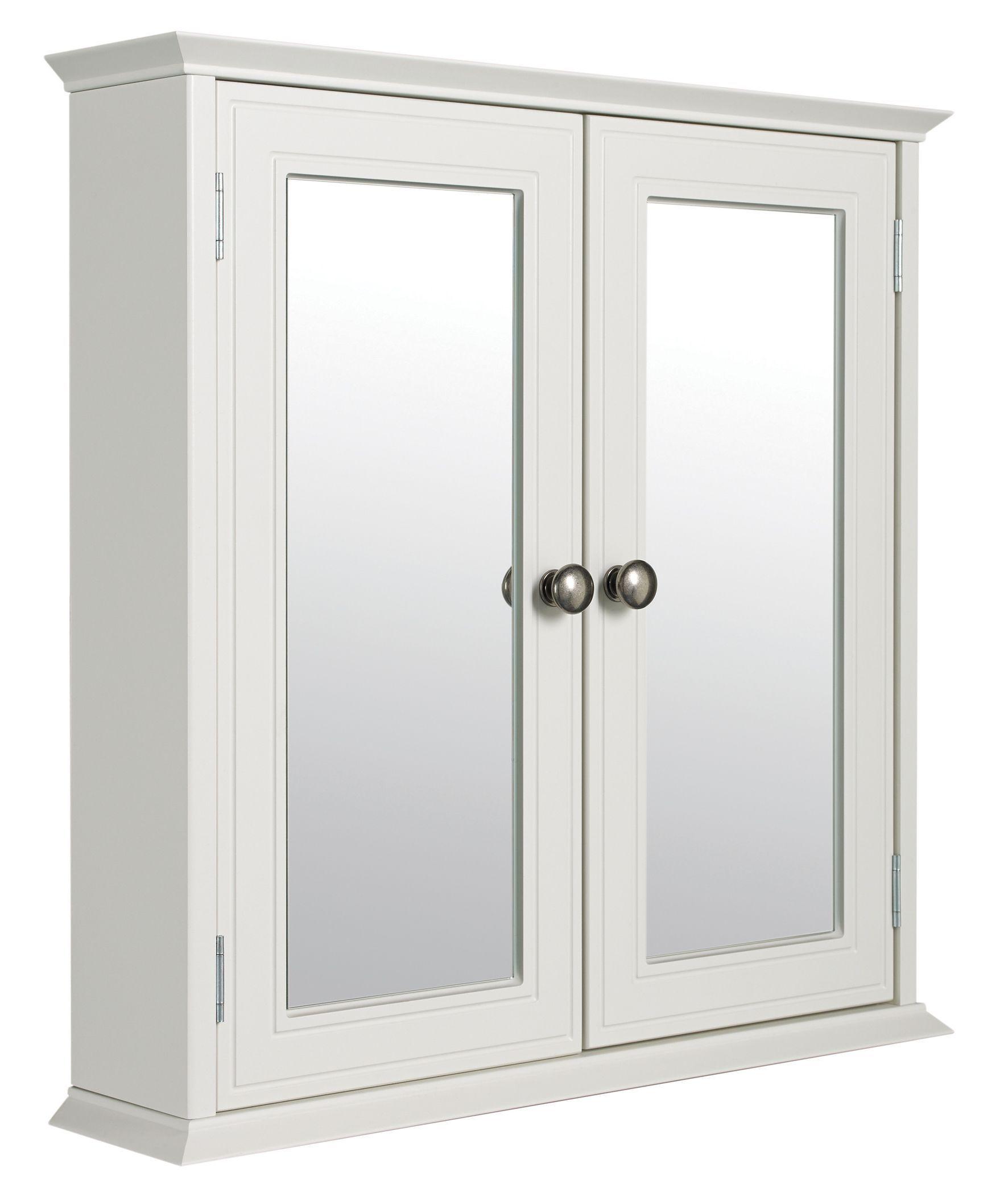 Cooke & Lewis Romano Double Door White Mirror Cabinet | Mirror ...