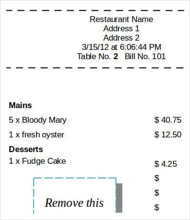 Printable Restaurant Sales ReceiptPrintable Restaurant Sales - printable receipt free