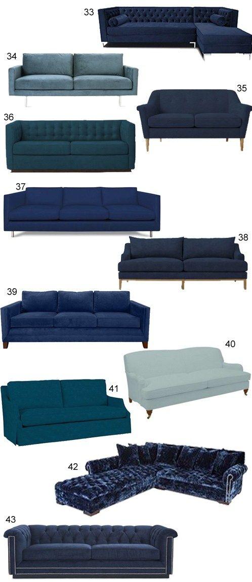 A curated collection of 34 blue velvet sofas, from contemporary and mid-century modern to transitional and traditional, from high to low price points.