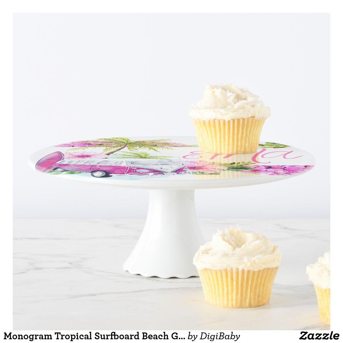 Monogram tropical surfboard beach girl cake stand cupcakestand