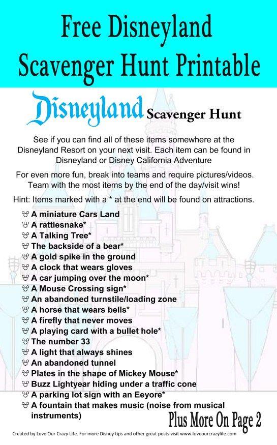 Photo of Kostenlose druckbare Disneyland Schnitzeljagd