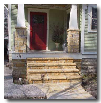 Undersized Urbanite Work In Progress Front Porch Stone Porches Green Siding Porch Entry