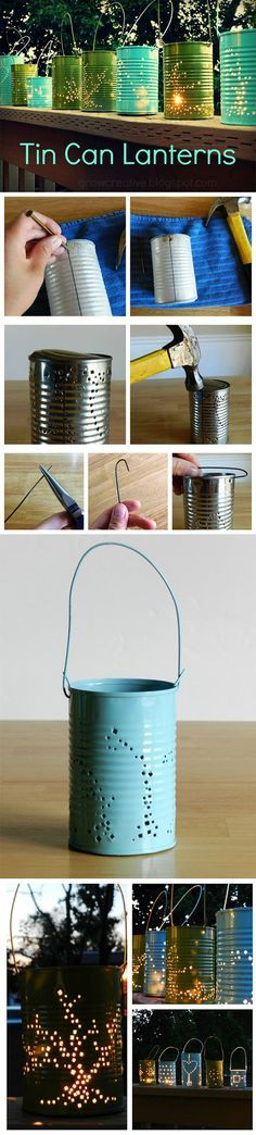 DIY tin can lanterns for rustic and evening wedding ideas! Hot cocoa thingys!