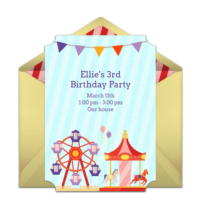 One Of Our Favorite Free Party Invitations Carnival Easily Personalize And Send Via Email For A Birthday Or Fun Day At The Town Fair