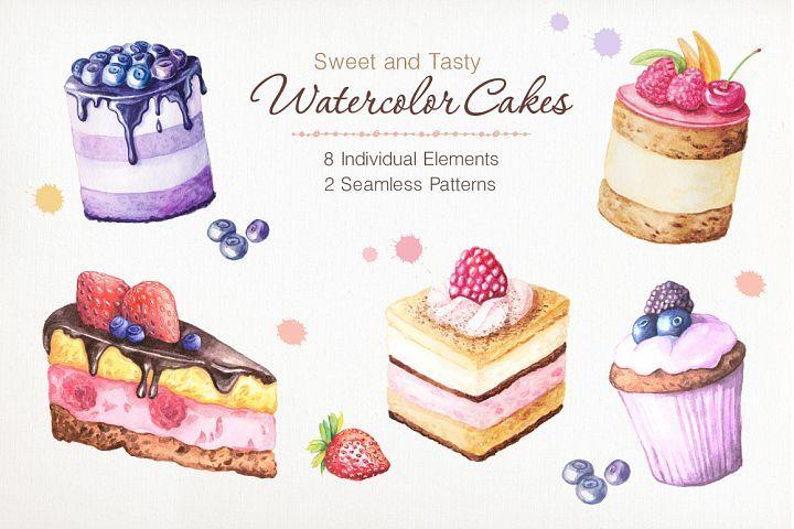 kit patisserie cake design Watercolor Cakes Set (2)  Illustrations  Design Bundles