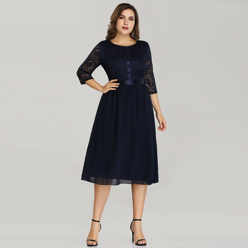 Ever-Pretty Plus 3/4 Sleeve Short Party Dress Navy Blue ...