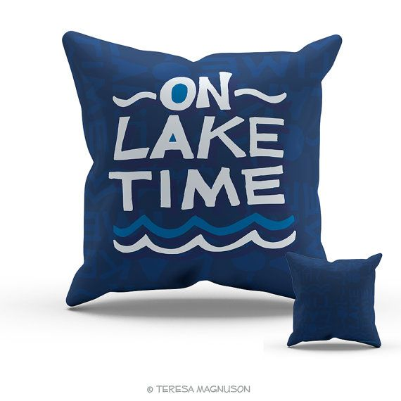 Navy Blue On Lake Time Pillow Chunky Hand by SunnyandClear on Etsy