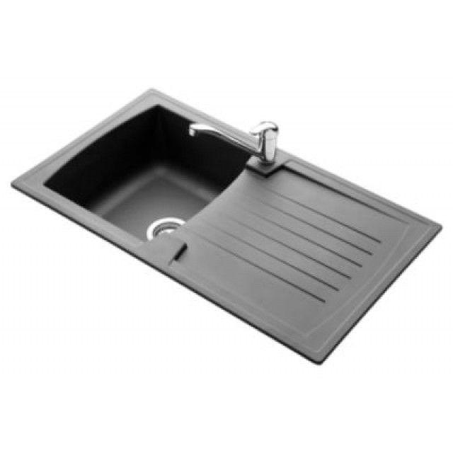 Pyramis naturalite einbauspüle arena schwarz mit spültischarmatur fino spülen küche bad