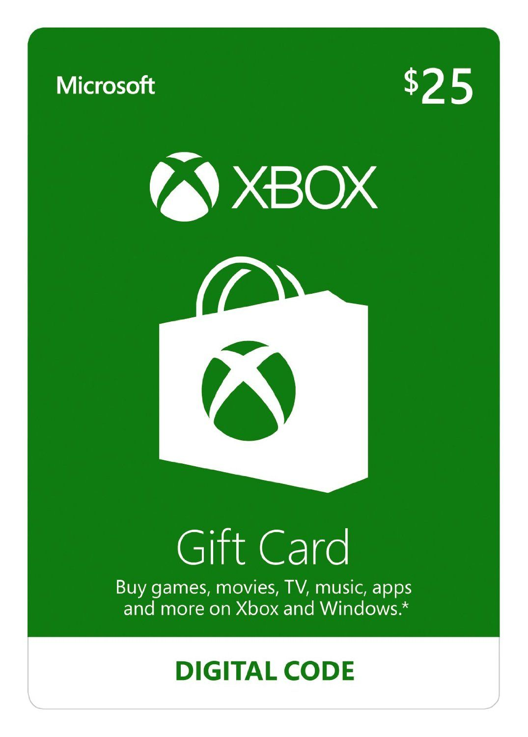 Xbox 25 gift card game code video