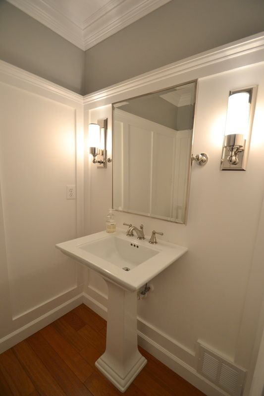 Remodelaholic Powder Room Transformed With Molding On Walls Wall Molding Dining Room Wainscoting Wainscoting