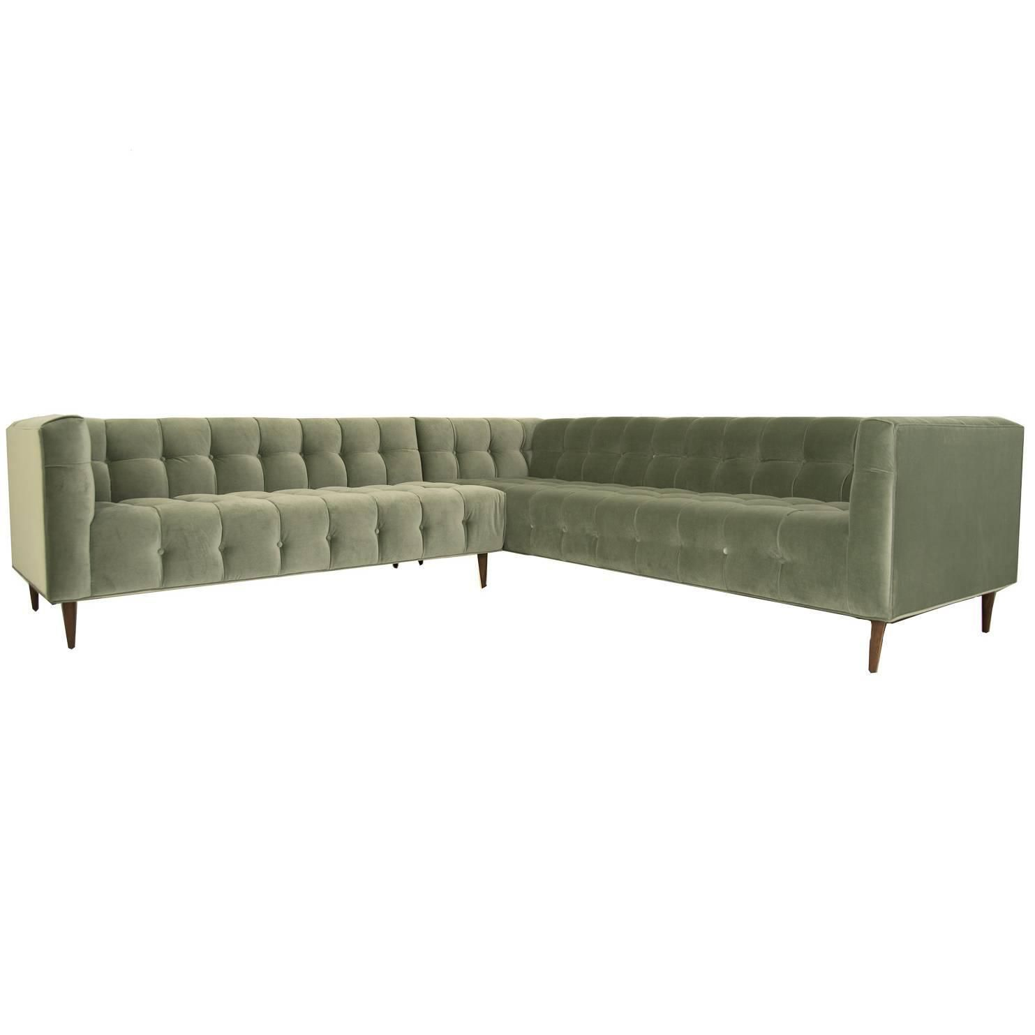 Tufted sectional in sage velvet from a unique collection of antique and modern sectional sofas