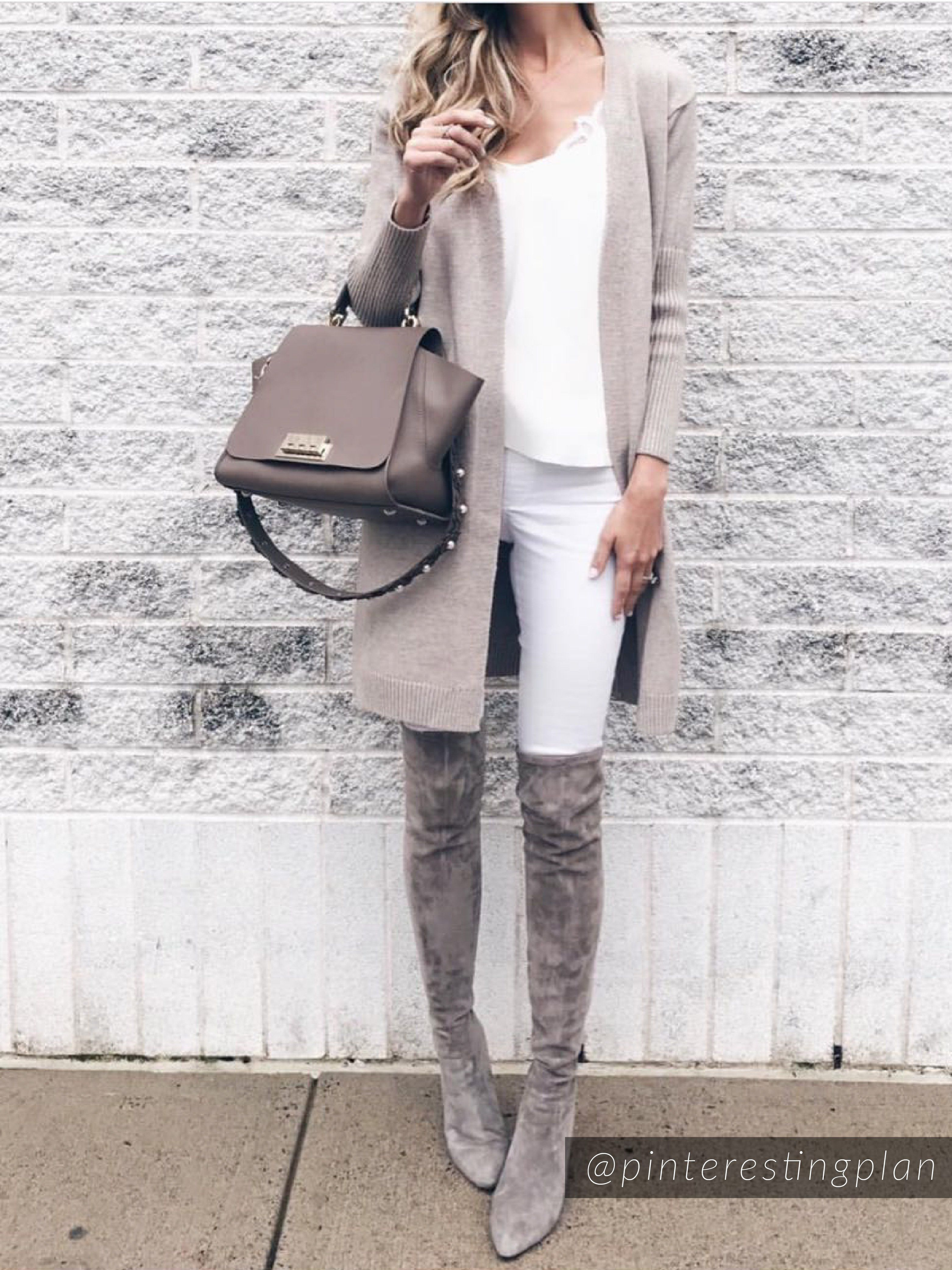 e6e2d2dbdb0  Carina  Taupe Over The Knee Suede Leather Boots.