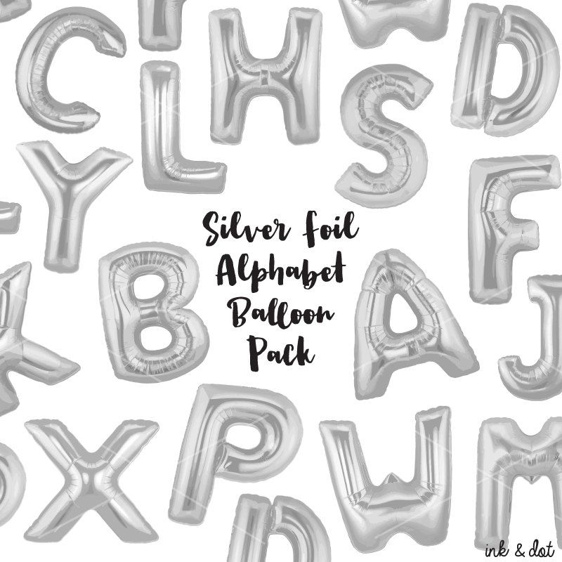 Silver Foil Balloon Letters Clip Art  Silver Letters  Balloon