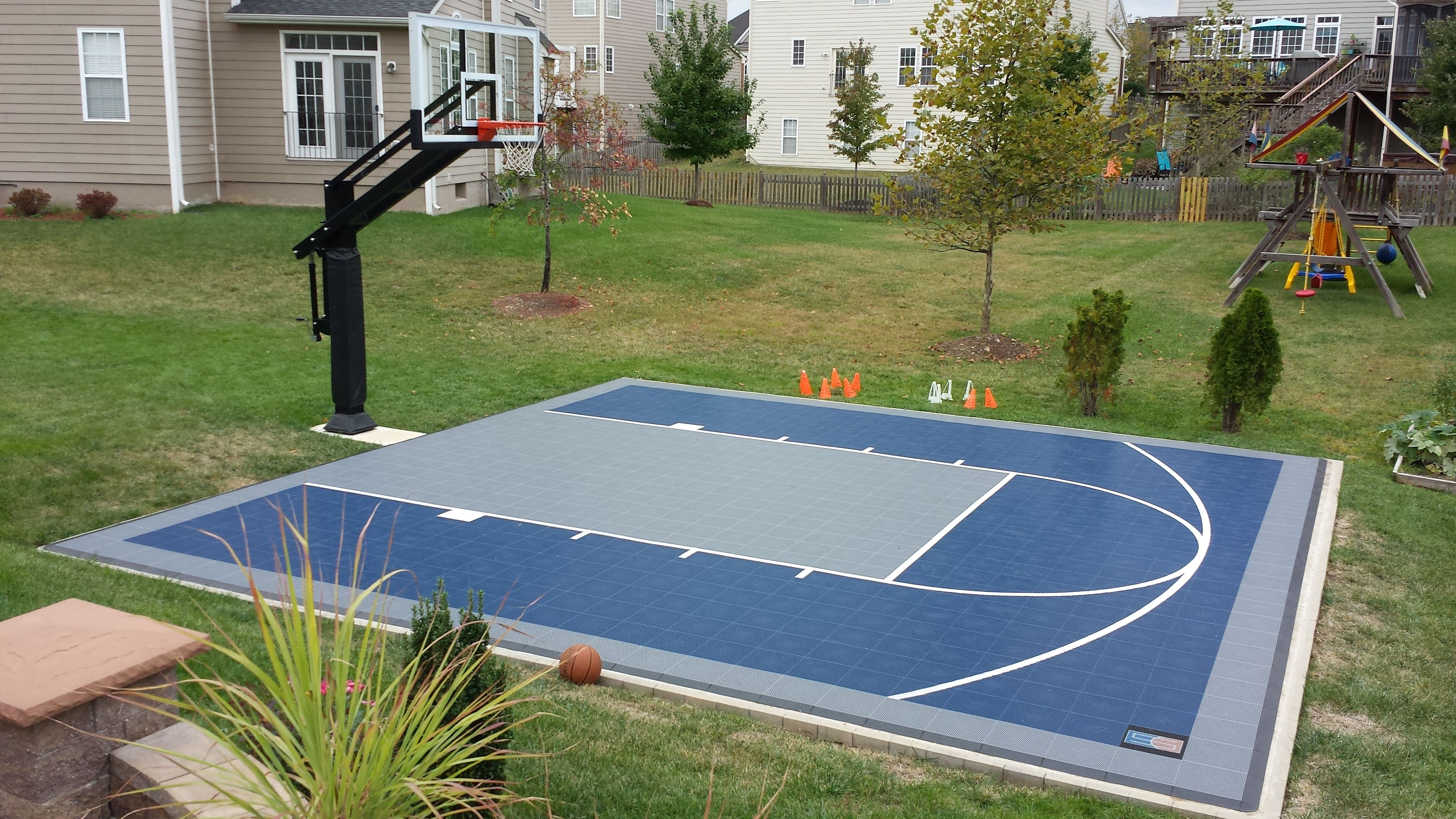 There Is Their Backyard You Can See Their Suspended Minimal Half Court Basketball Court Backyard Backyard Basketball Backyard Court