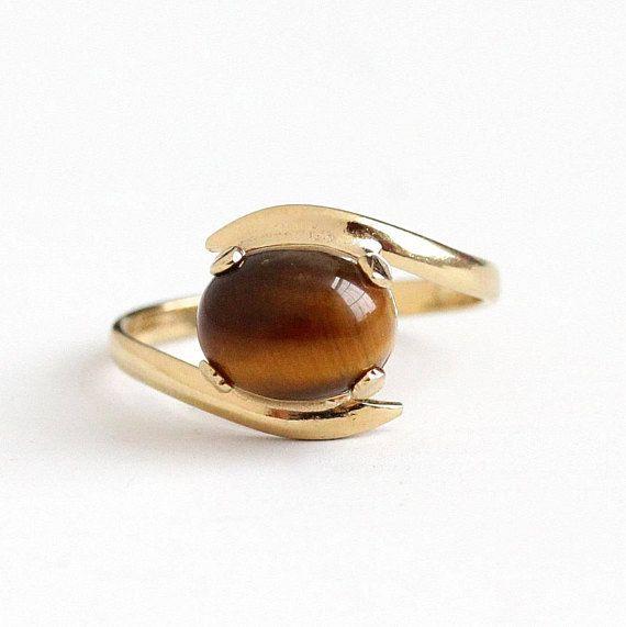 Caramel Cat S Eye Ring Diamontrigue Jewelry: Vintage 10k Yellow Gold Filled Tiger's Eye Quartz
