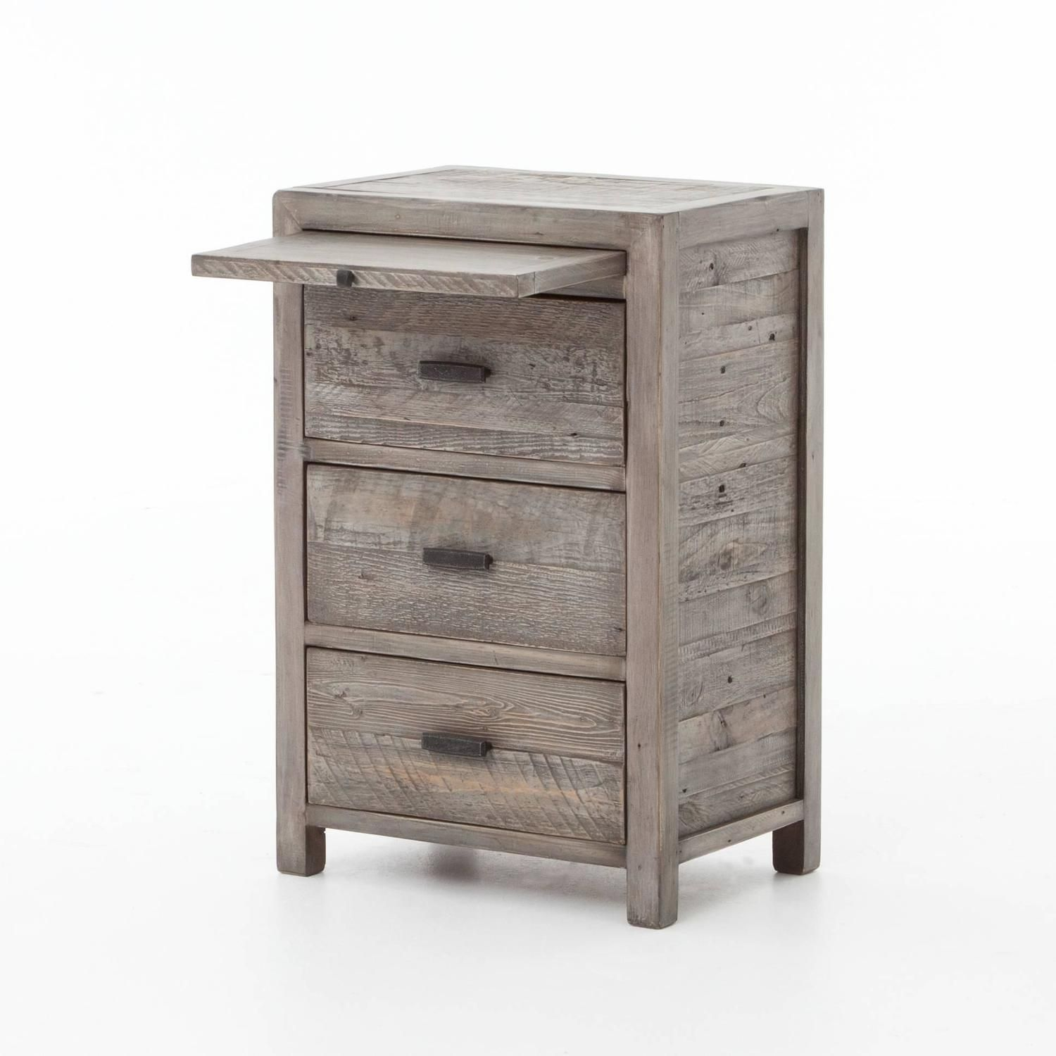 Contemporary Reclaimed Wood Nightstand Grey Color