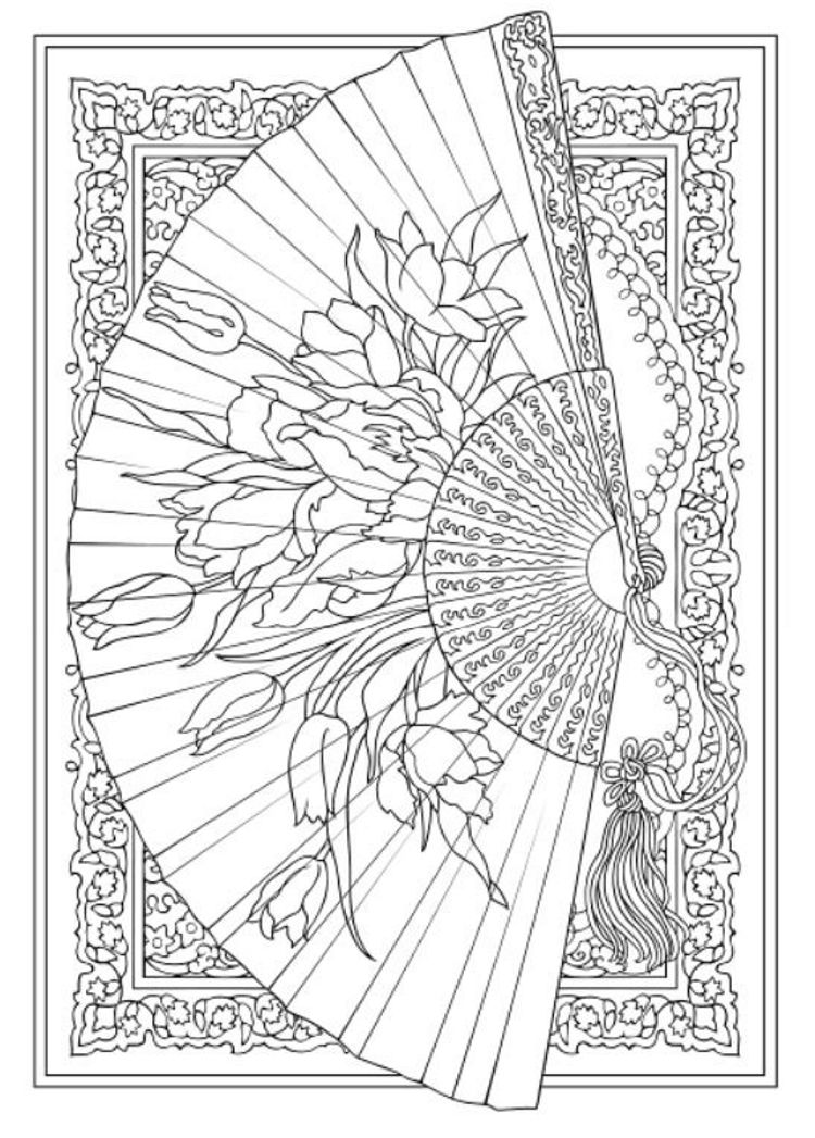 Creative Haven Vintage Hand Fans Coloring Book Dover Publications