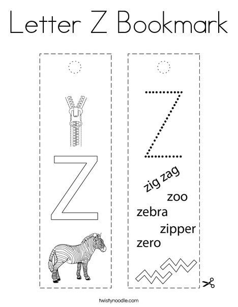 Letter Z Bookmark Coloring Page - Twisty Noodle in 2020 ...