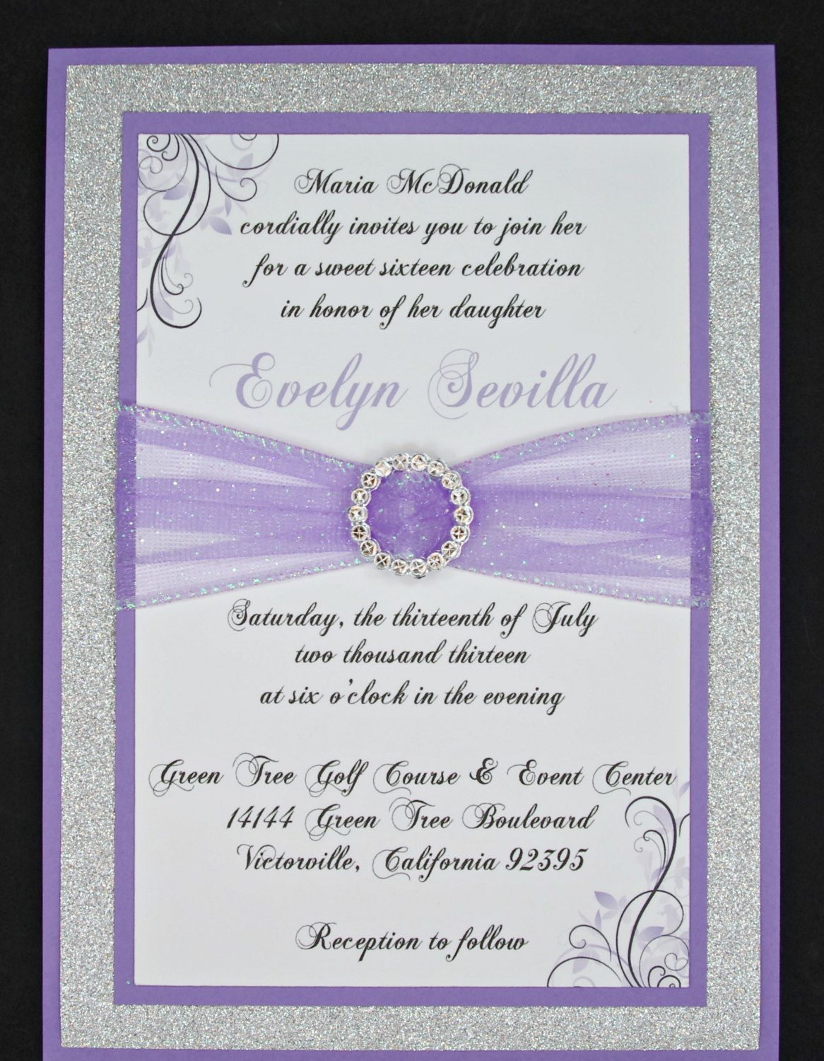 Lilac and silver glitter quinceanera or wedding invitation for Wedding invitations in spanish etsy