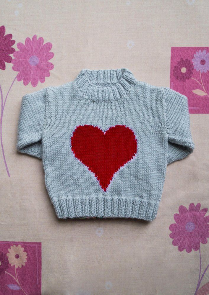 Intarsia Big Heart Chart Childrens Sweater Valentines Day