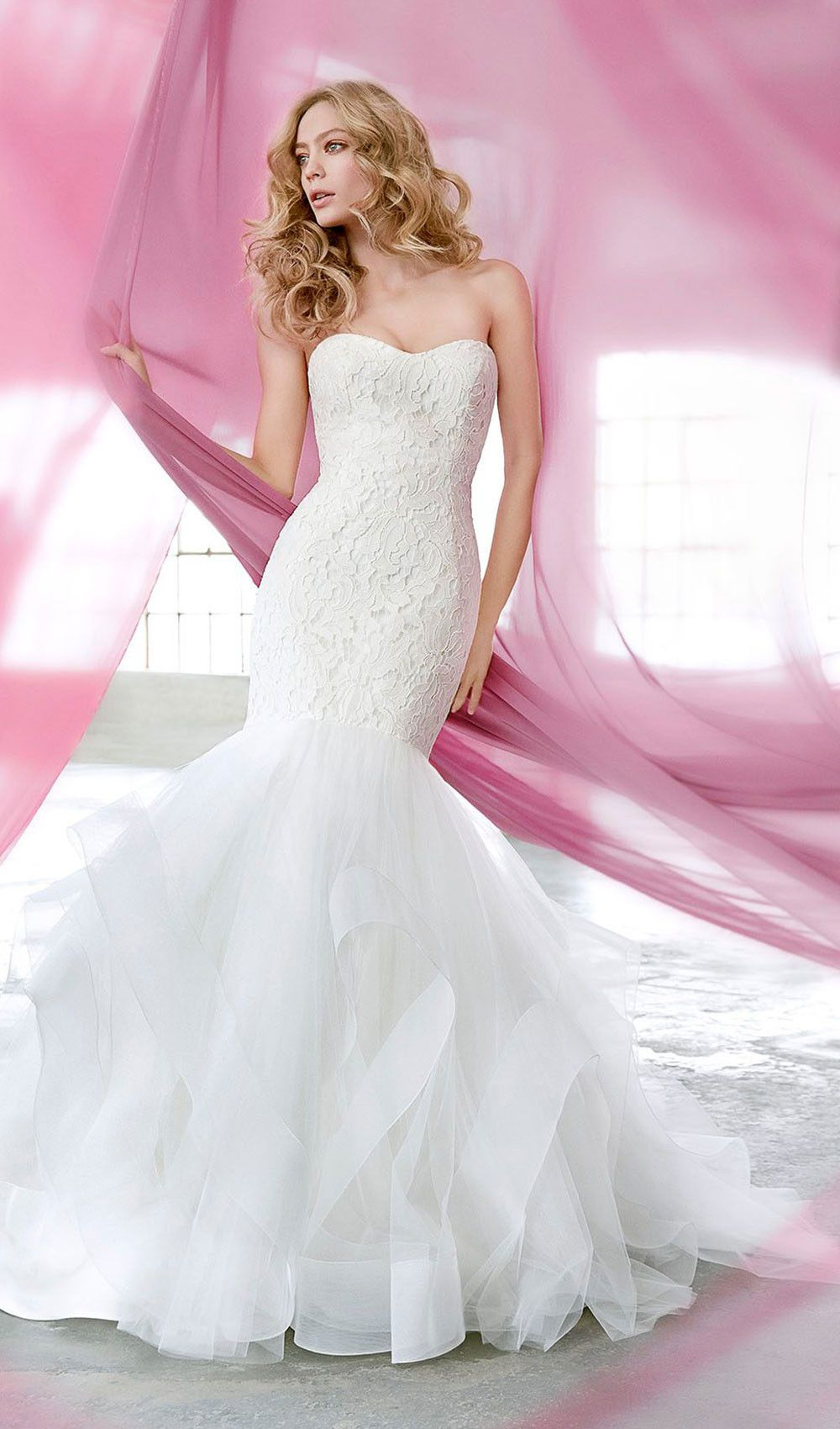 Try this ivory lace fit to flare wedding dress, strapless sweetheart ...