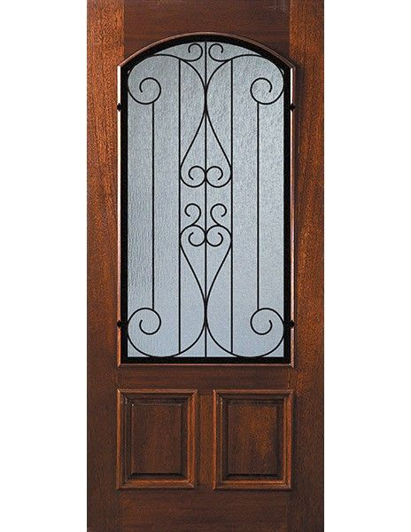 D06742wlv Front Mahogany Single Door Low E Arch Lite Lavaca Glass 2 6 Single Doors Lavaca Doors