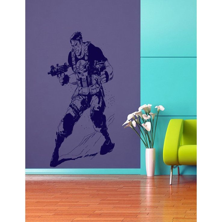 Punisher decal, Punisher Superheroes decal, Superheroes stickers, Superheroes Vinyl Sticker Decal size 22x35 Color Blue