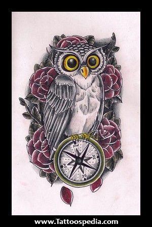 Owl Compass Rose Compass Tattoo Design Owl Tattoo Design Owl Tattoo
