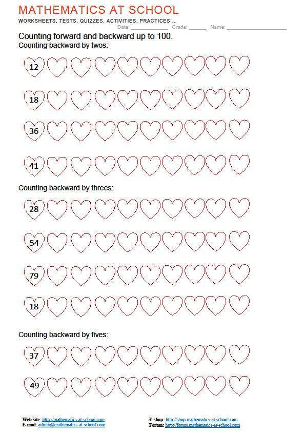 Counting Forward And Backward Counting Backward Up To 20 Up To 100 Printable Pdf Worksheets 1st Grade Worksheets Worksheets 3rd Grade Math