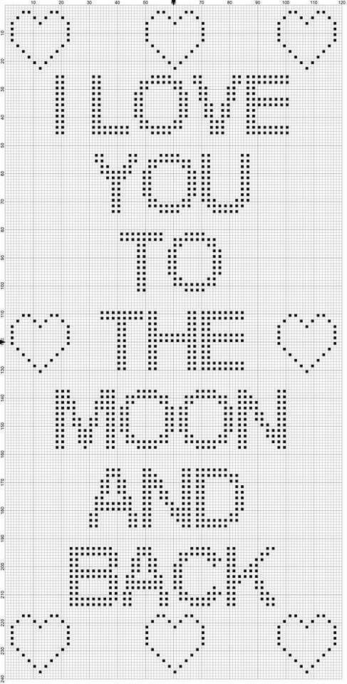 Love you to the Moon and back c2c | Knit | Crochet, Stitch, Filet ...