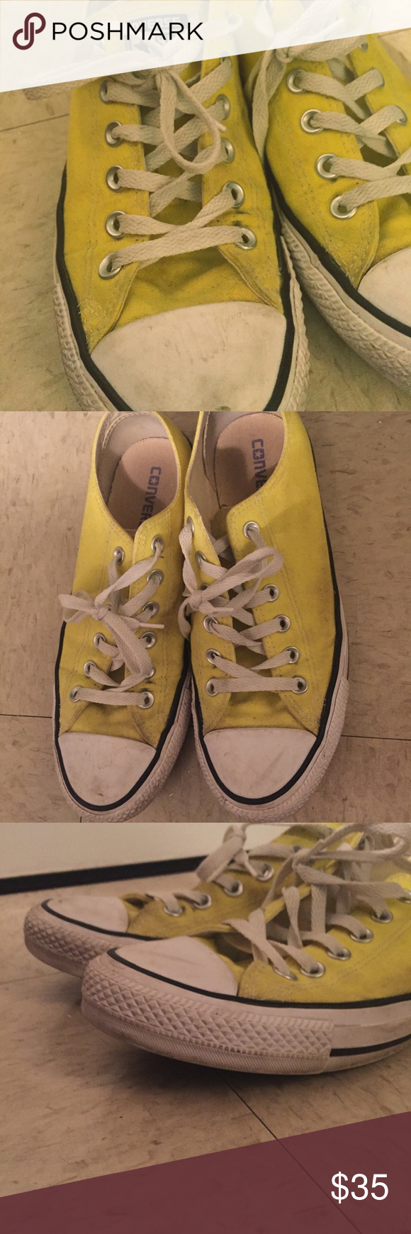 Yellow Converse Broken in Yellow Converse. Super fun statement shoes. Comfortabl…