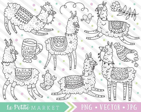 Cute Llama Clipart Images Llama Clip Art Kawaii Llama Cute Etsy Clip Art Llama Clipart Cute Alpaca