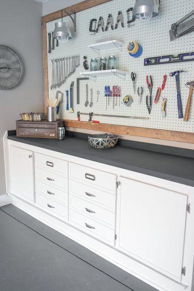Garage Workbench Makeover Pegboard GarageGarage WorkbenchWorkbench IdeasWorkbench With StorageWorkbench