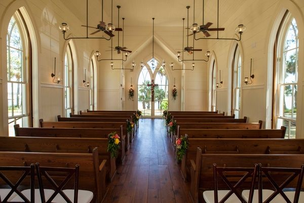 Chapel In Bluffton South Carolina Church Wedding Venue Gl Windows Pews Lights Simple